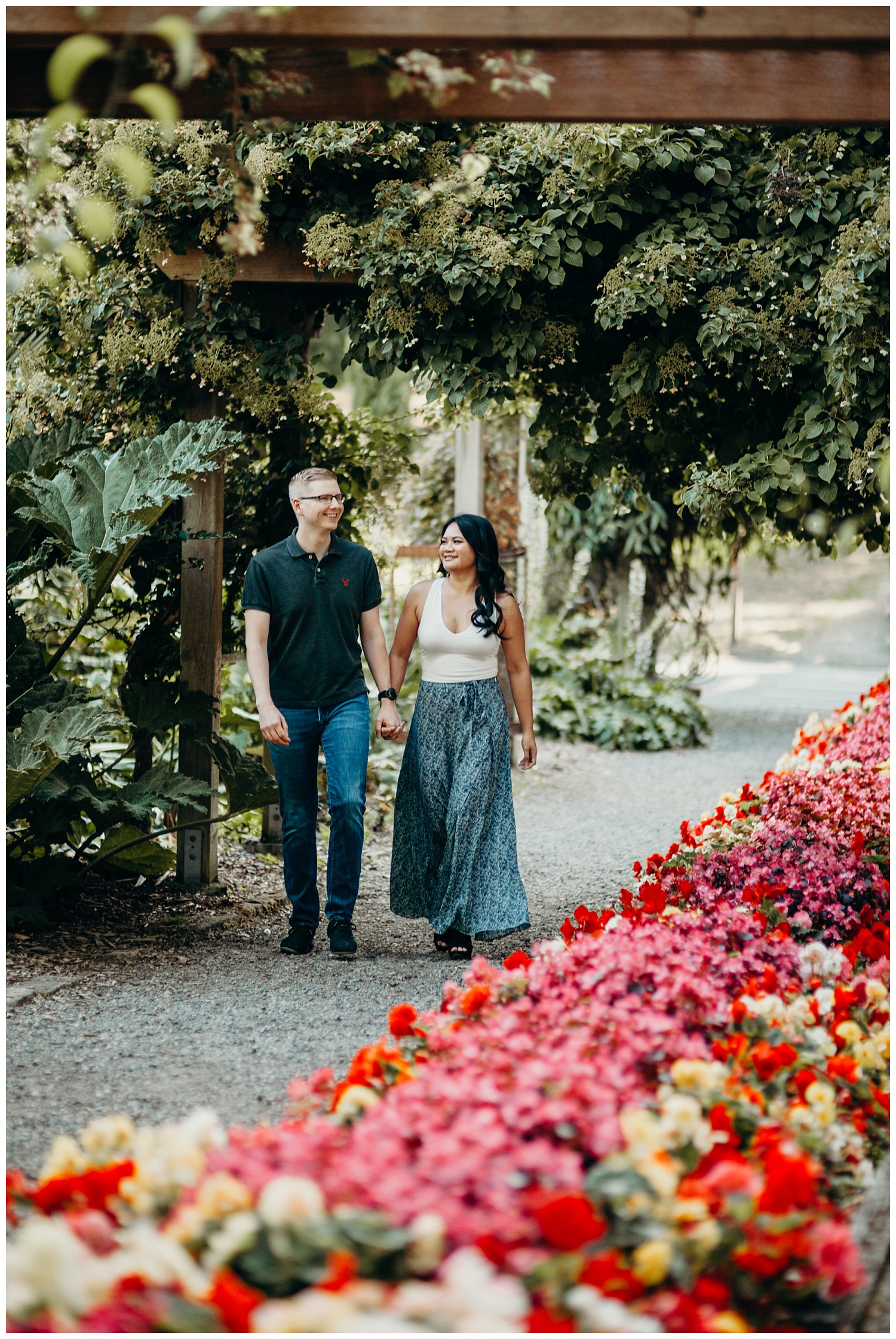 Jaynah and Kevin Point Defiance Rose Garden Owen Beach Tacoma Washington Engagement Session (2).jpg