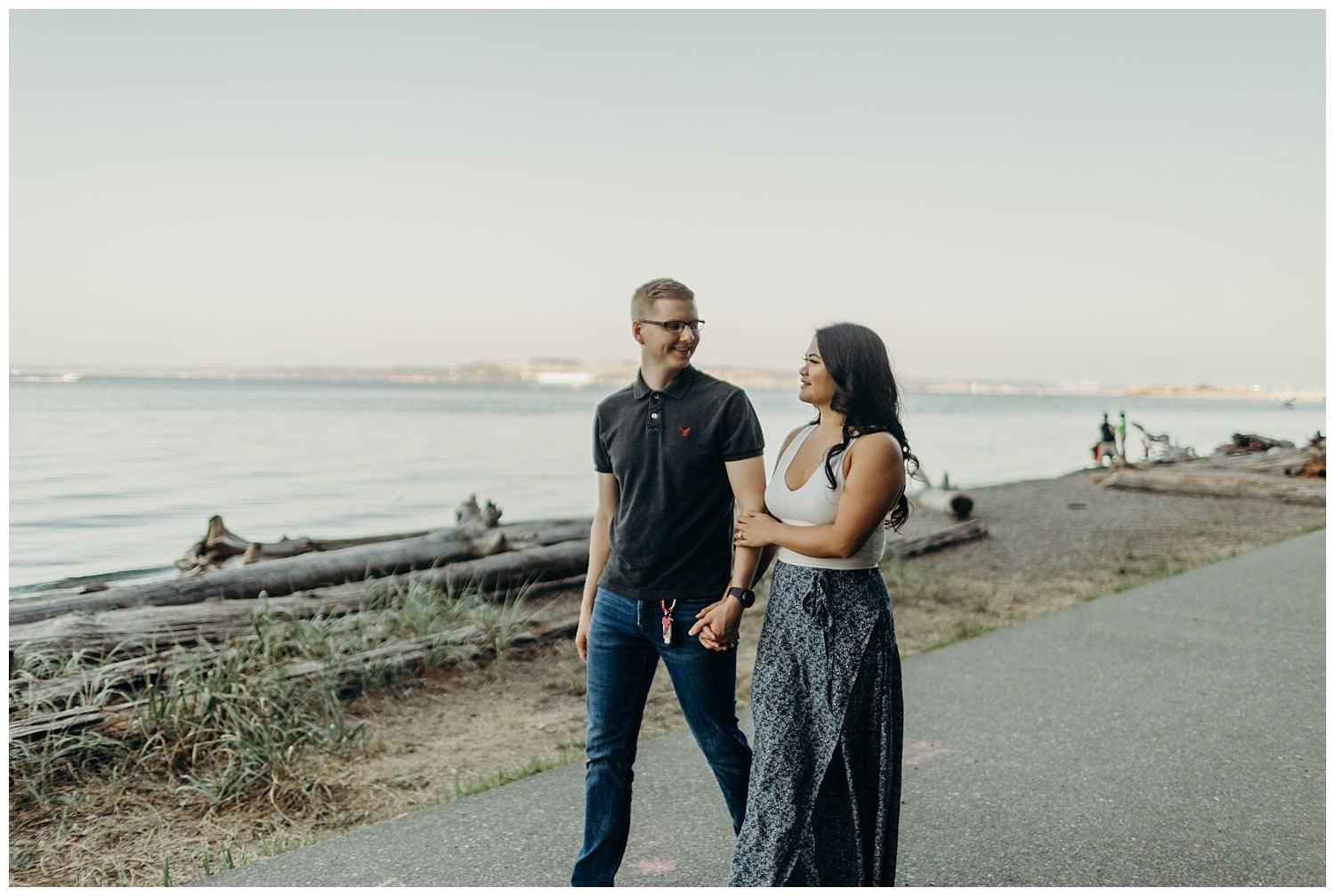 Jaynah and Kevin Point Defiance Rose Garden Owen Beach Tacoma Washington Engagement Session (25).jpg