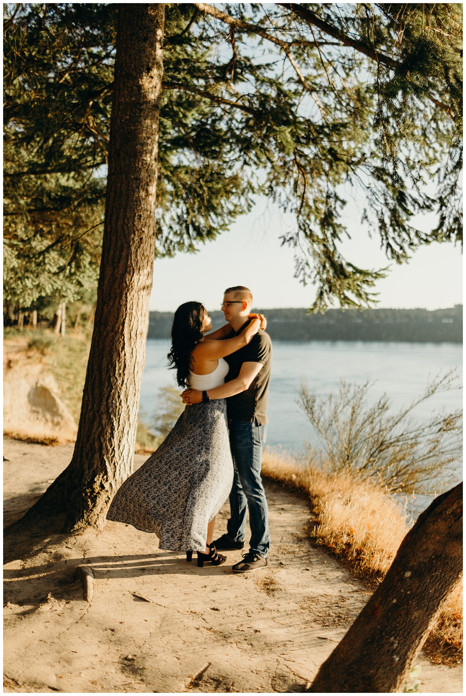 Jaynah and Kevin Point Defiance Rose Garden Owen Beach Tacoma Washington Engagement Session (62).jpg