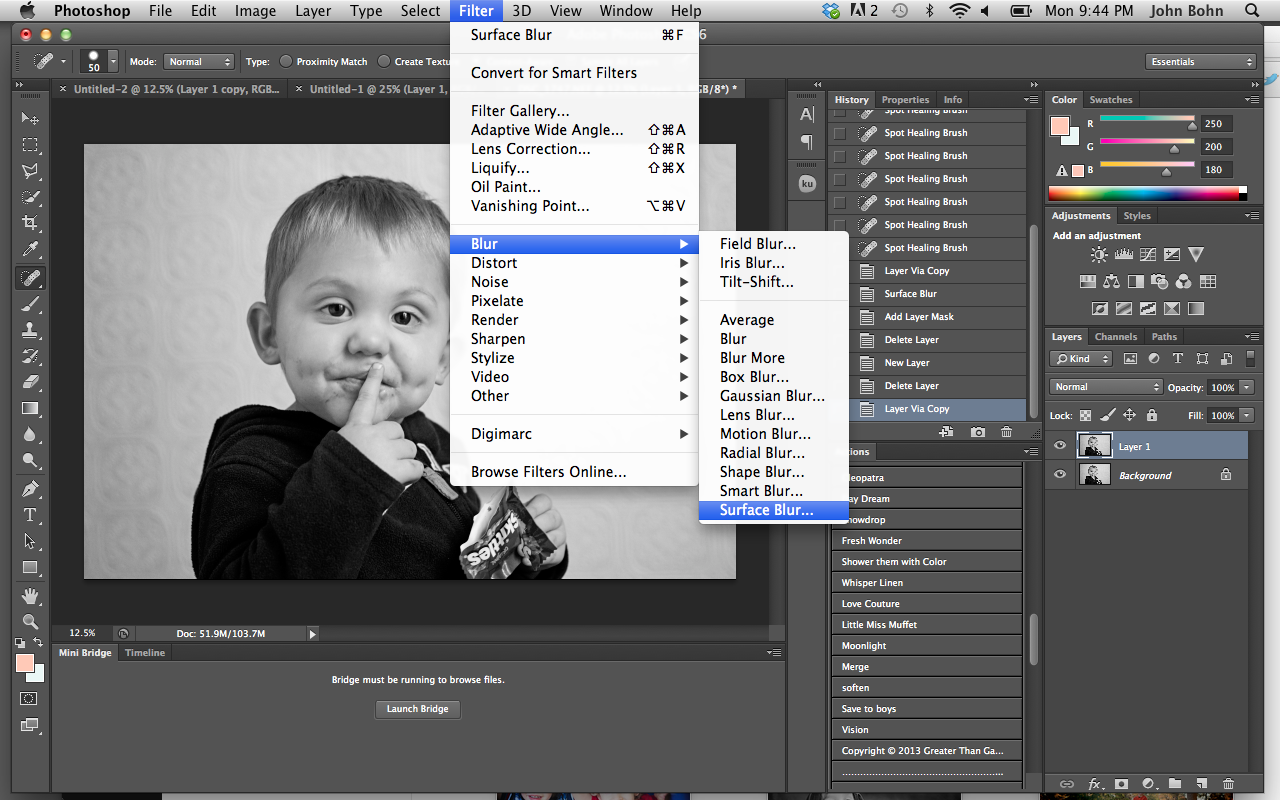 Murfreesboro Child photographer editStep 6:  Here I do just a little skin smoothing, nothing crazy, just a hint. This is where I create a background copy by simply hitting command (mac) or ctrl (pc) J. I then choose filter> Blur > Surface Blur.