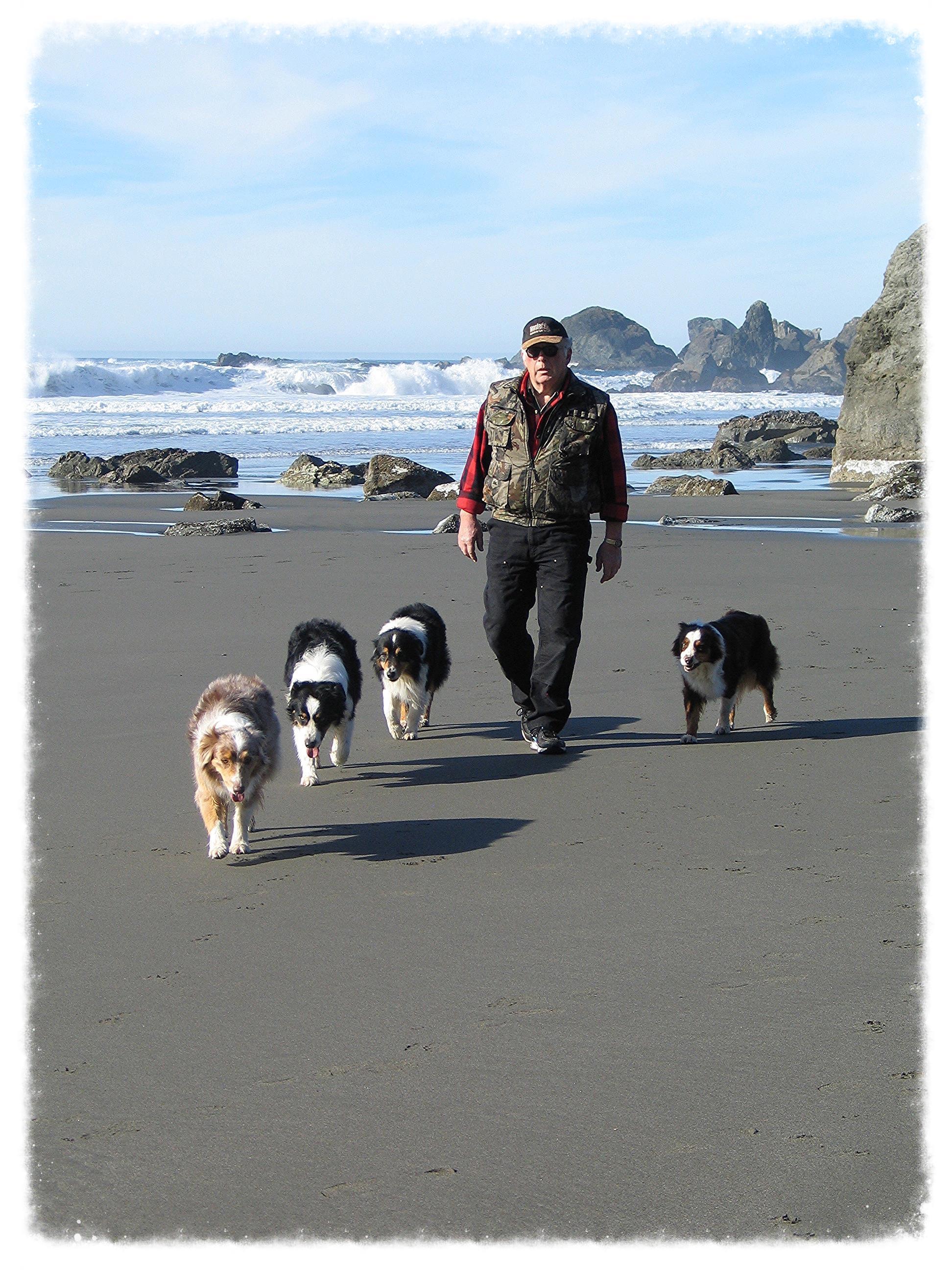 Katy, Nitro, Cruiser, Leonard and Hellon at Lone Ranch Beach, our favorite beach, near Brookings, Oregon. Spring 2013