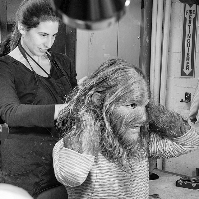 Leanne Catena helps me put on the Dog Boy mask before the show
