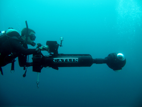 The Underwater Earth guys take their 360 camera for a spin around Batu Rufus. Photo: Angela Beer