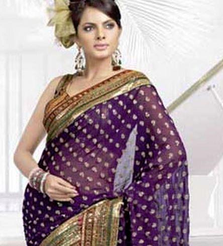 deep purple georgette saree from Bollywood fashion.JPG