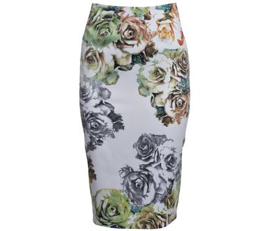 Floral fitted skirt Howard Showers.JPG