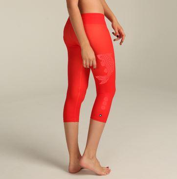 capris chill red tiger ladies yoga wear.JPG