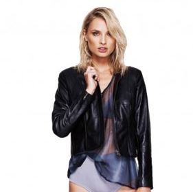 Black collarless leather jacket Selina.JPG