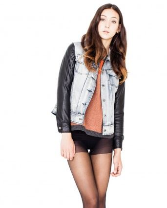 Viparo blue denim leather sleeves jacket.JPG