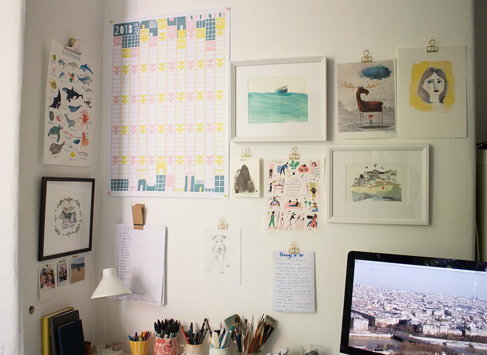 Prints L-R: 'Small Steps Every Day' by  Katie Abey , 'An A-Z of Sea Creatures' by me, Wall Planner from  Alison Hardcastle , 'Boat Folk' also by me, 'Moose' by  Oliver Jeffers , 'Lady' by  Mairi Dryden , 'You Did It!' from  Redcap Cards , 'You have to be willing to be bad at it in order to get good at it' by  Libby VanderPloeg , and 'Harbour Town' by  Clover Robin .