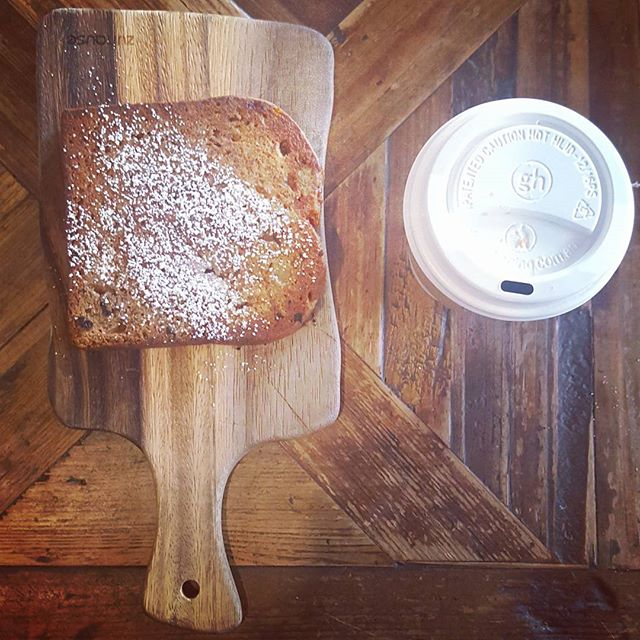 Slice of banana bread & ☕
