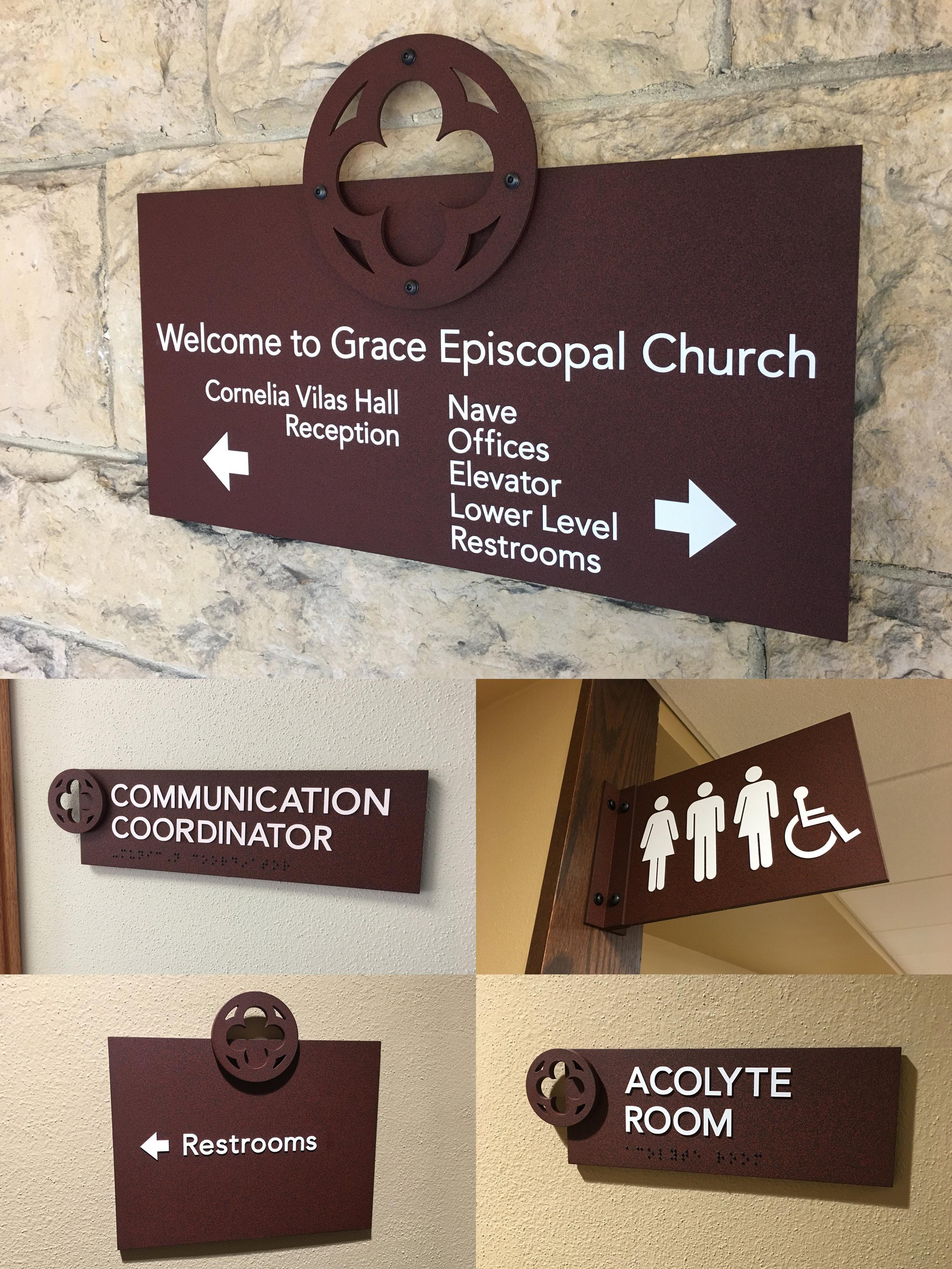 Grace Episcopal Church Indoor Wayfinding Signs