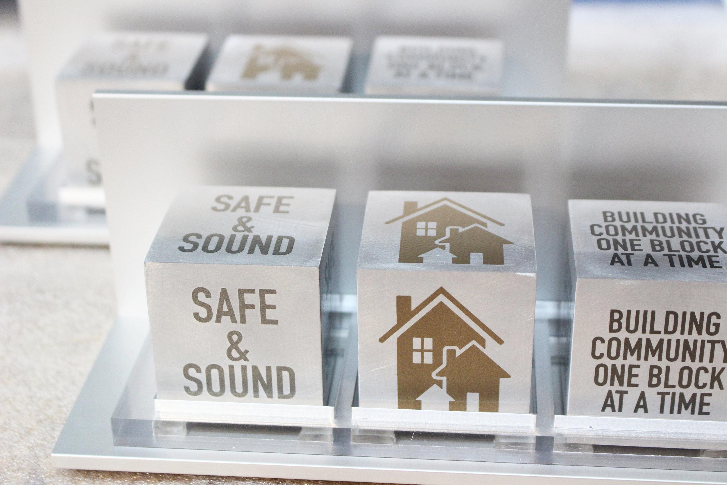 """Safe & Sound 3-Cube """"Thank You"""" Award"""