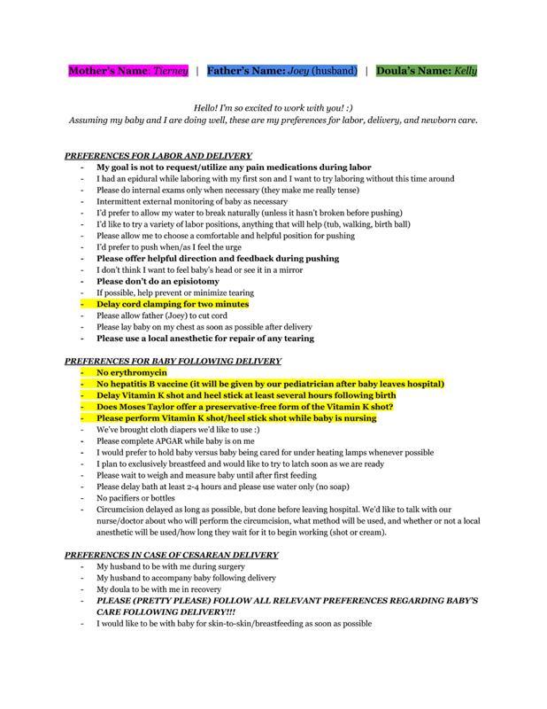 Sample Birth Plan For Natural Hospital Birth