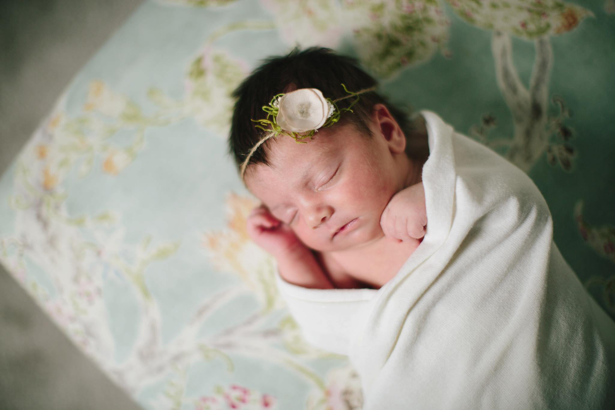Faye and the Flower Chair Natural Light Newborn Photography