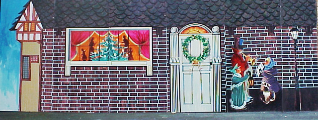Dickens 1-Wintertime with Dickens exterior scene. 8' tall and 24' wide. Foamcore.