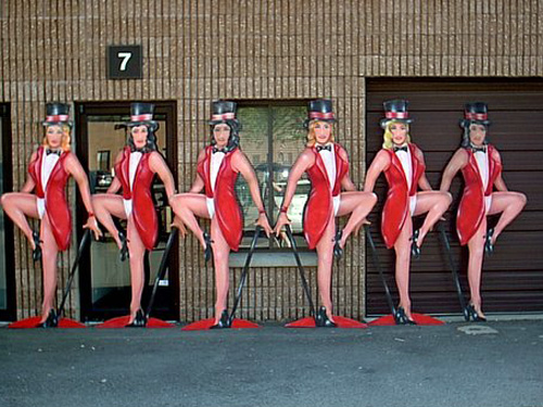 Rockette Dancers-6 Female dancers about 7' tall on heavy wood.