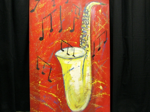 Sax Flat-One sided on wood. Measures approx 4' wide and 6' tall.