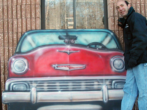 1957 Chevy Car Front- This piece is a nice compliment to your 50's sock hop. Measures about 4' tall and 6' wide on foamcore.
