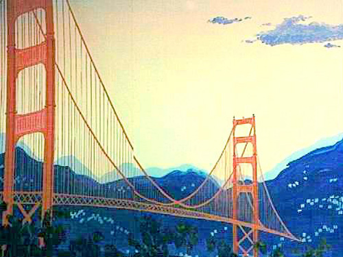 Golden Gate Bridge Scene: San Francisco's most famous landmark, the Golden Gate Bridge!! Measuring 8' tall and 16' wide on wood.