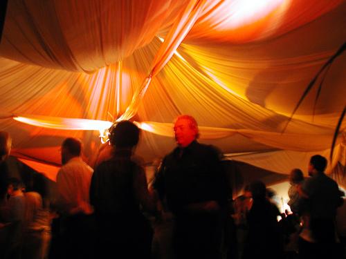 Tent set-up indoors for the dancefloor