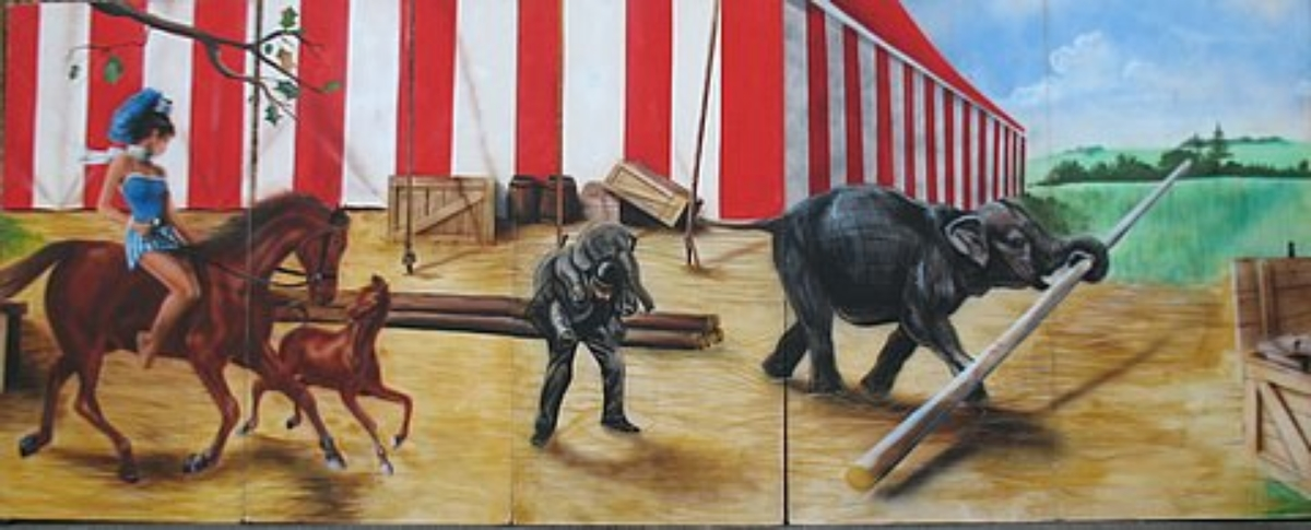 Circus Scene 3: Scene takes you behind the circus tent. Measures 8' tall and 20' wide, foamcore.