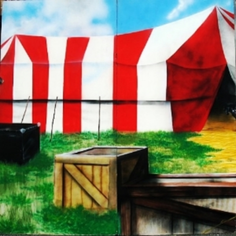 Small Tent 1: A small scene that shows the outside of a red and white striped tent. Measures 8' tall and 8' wide, foamcore.
