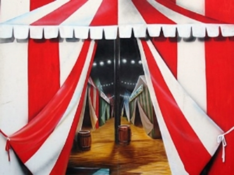 Tent Entrance Scene: Step inside and see the show. Scene may be split to use as an entranceway. Measures 8' high and 8' wide, foamcore.