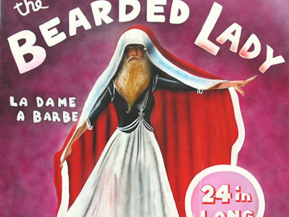 Bearded Lady Side Show Panel: Measures 8' tall and 8' wide, foamcore.