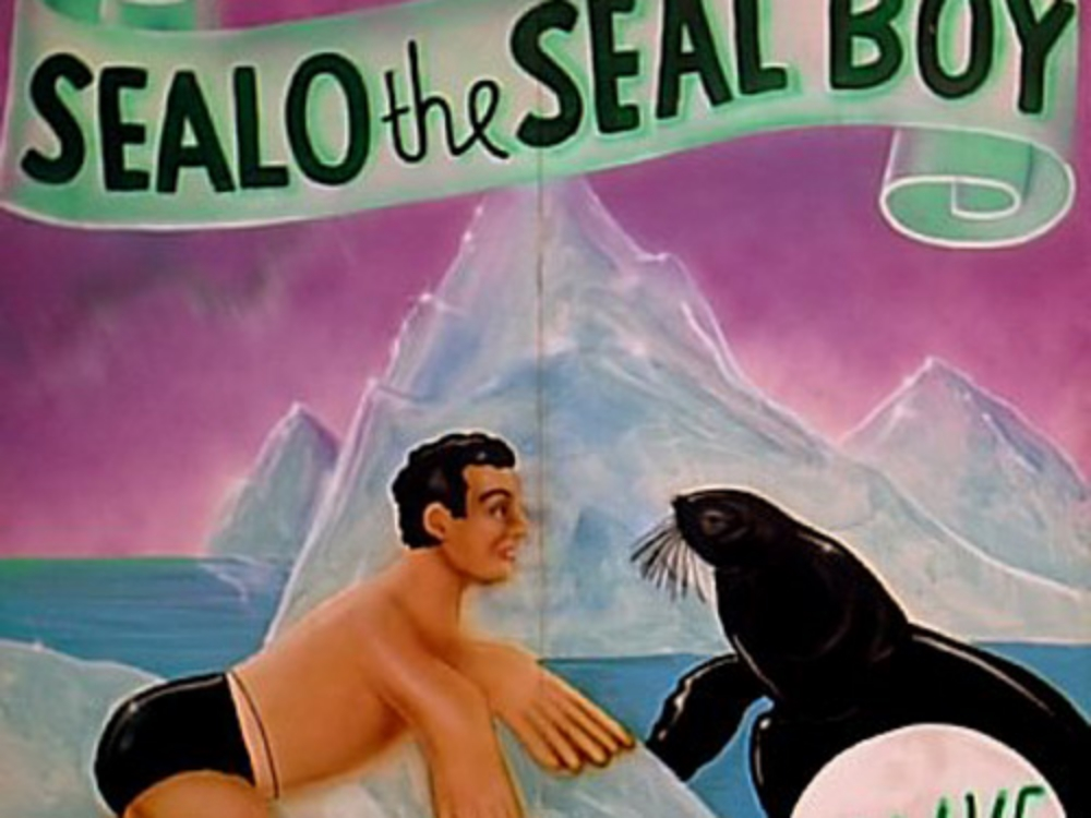 Seal Boy Side Show Panel: Measures 8' tall and 8' wide, foamcore.