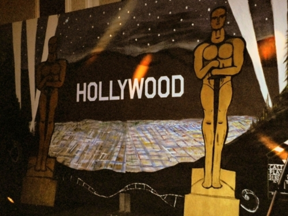 Hollywood Scene:Features mini lights near the bottom half. Measures 8' tall and 16' wide, wood.