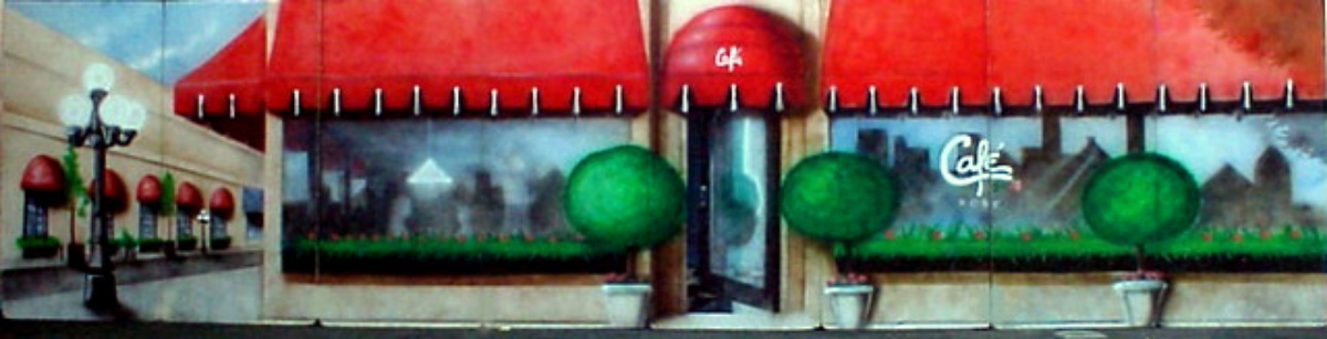 Cafe Rose Scenery: A cute cafe for a variety of themes. Measures 8 ft high and 32 ft wide, foam core