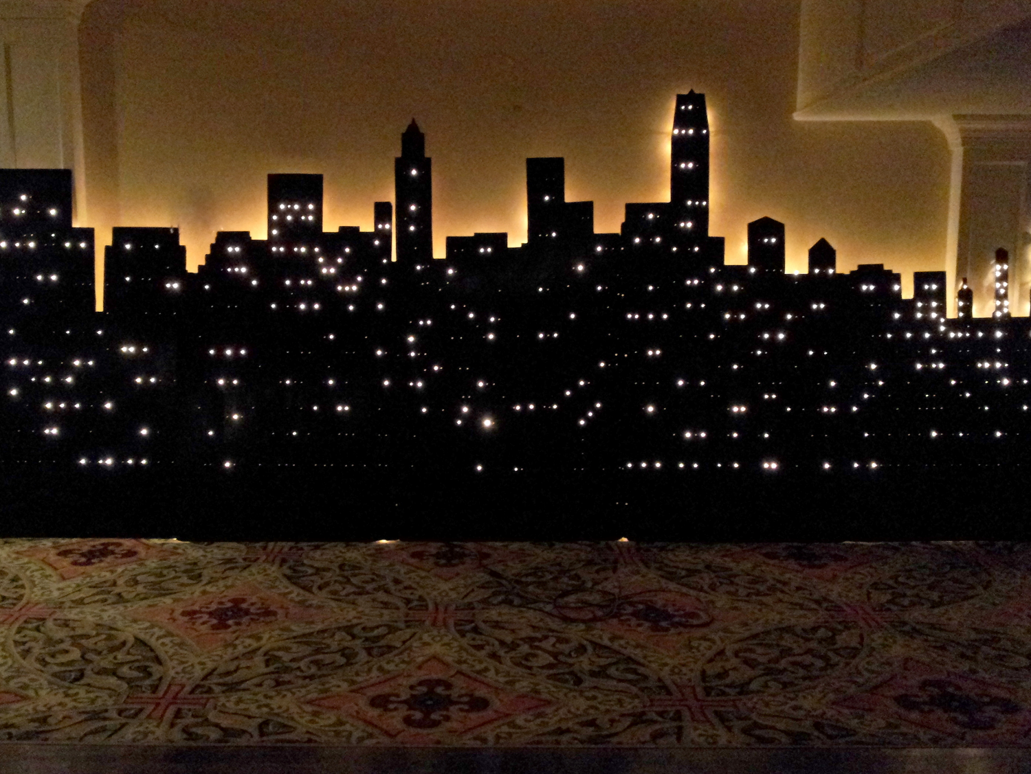 New York City Sky Scenery-Wood, measures 20 ft wide and varies height from 6 to 8 ft high with lights