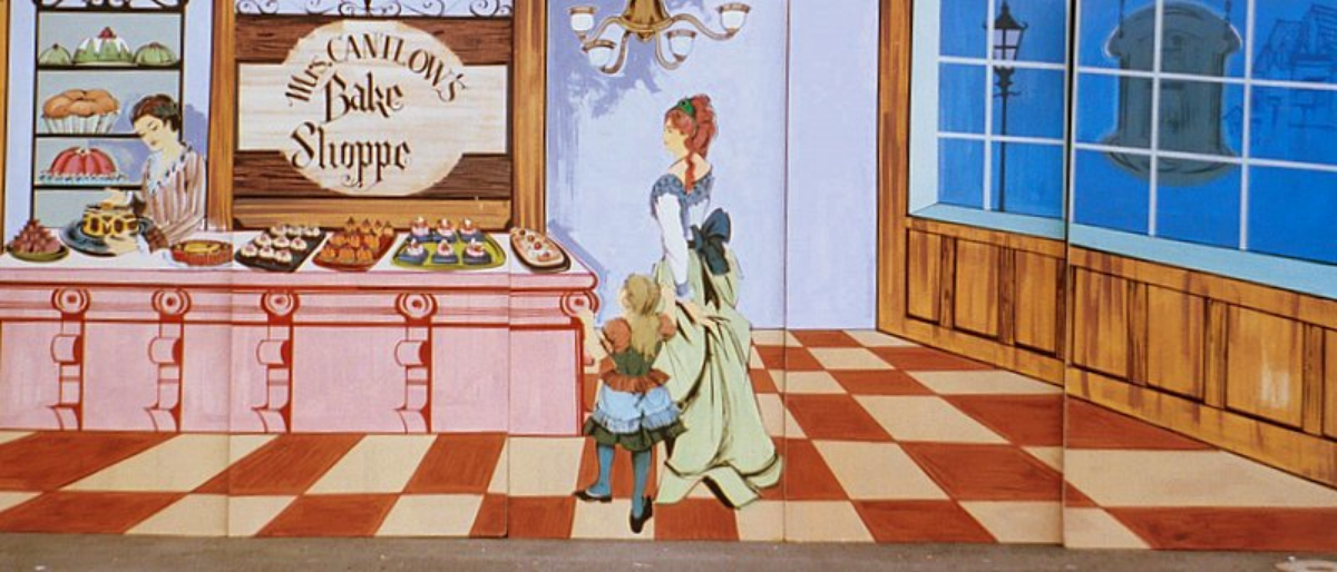 Bakery Scene-Old style bakery with and indoor perspective. Measures 8 ft high and 20 ft wide
