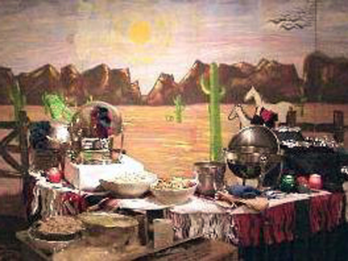 Mexican Theme: 8 foot tall by 16-foot wide wooden scenery of Mexican Plains. Shown here behind food station.
