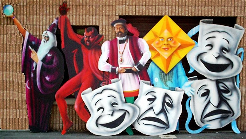 Assorted foamore cutouts: Comedy/Tragedy masks (1 vertical, 1 horizontal), Wizard, Devil, Prince, Mr. Weather