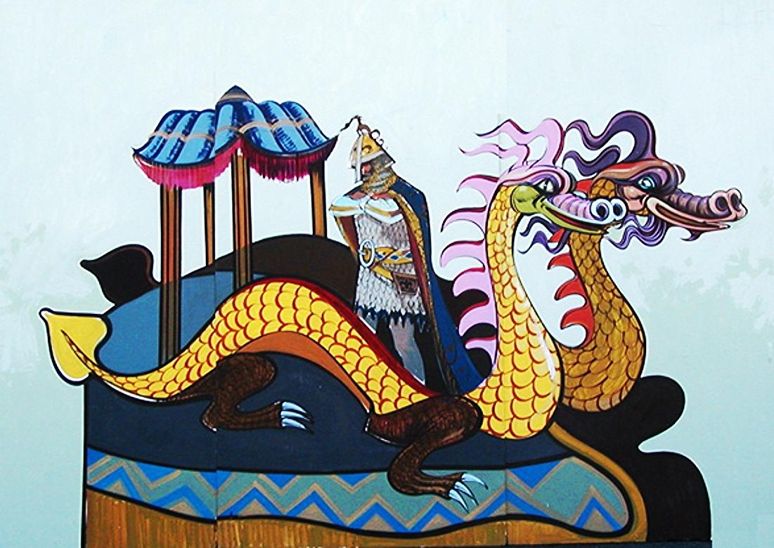 Mardi Serpent Float Scene: foamcore Scene 8' tall and 12' wide