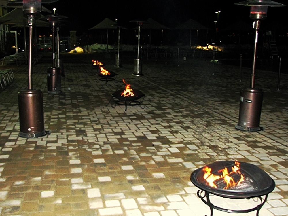 Outdoor Heating and Effects: These outdoor heaters work well when the weather is just a little too cool. Use them anywhere portable heat is needed. The patio heaters work with propane and the fire pits work with logs