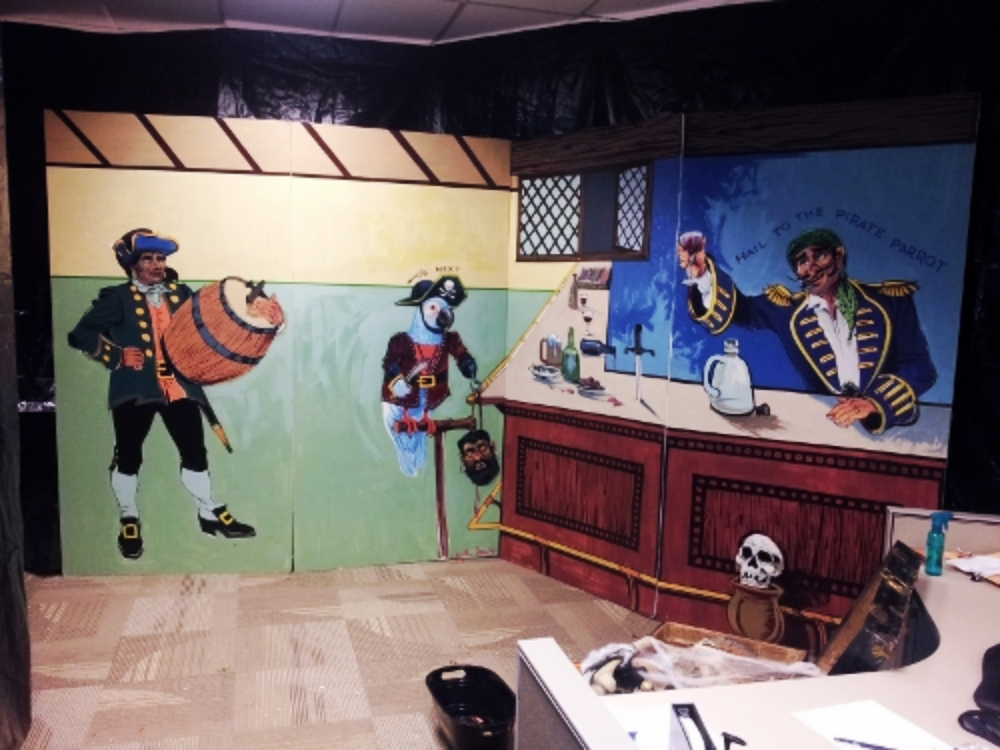 Pirate Bar 2: measures 8' high and 16' wide, foam core.