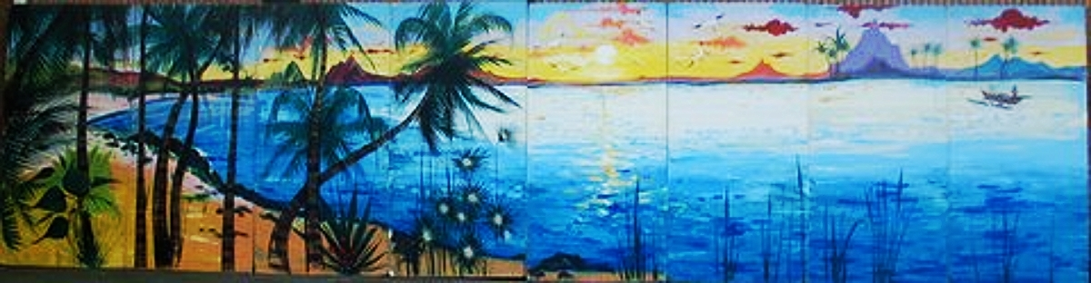 Polynesian 2 Scene: measures 8' high and 32' wide, foamcore