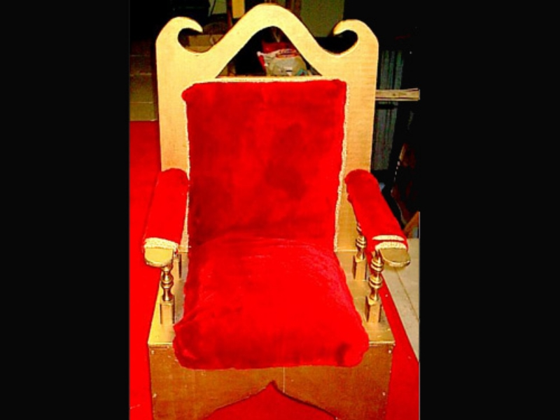 Plush Santa Chair: Wooden Chair with crushed velvet seat and back. Perfect for a photo opportunity