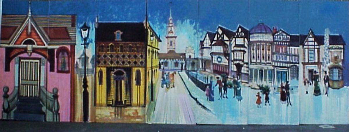 Dickens Winter Scene 2: measures 8' high and 28' wide, foamcore.