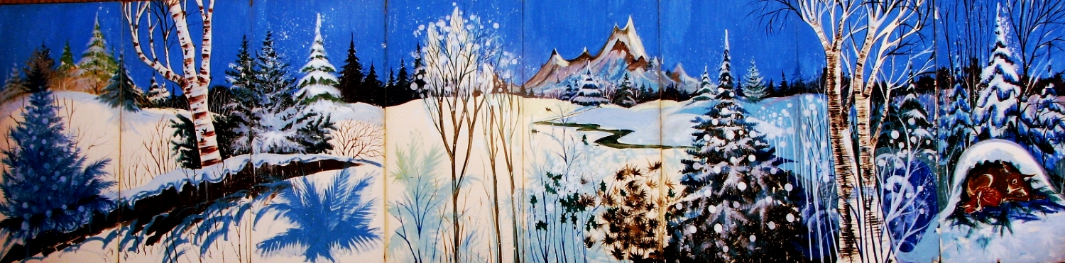 Winter Scene 2: m easures 8' high and 32' wide, foamcore.