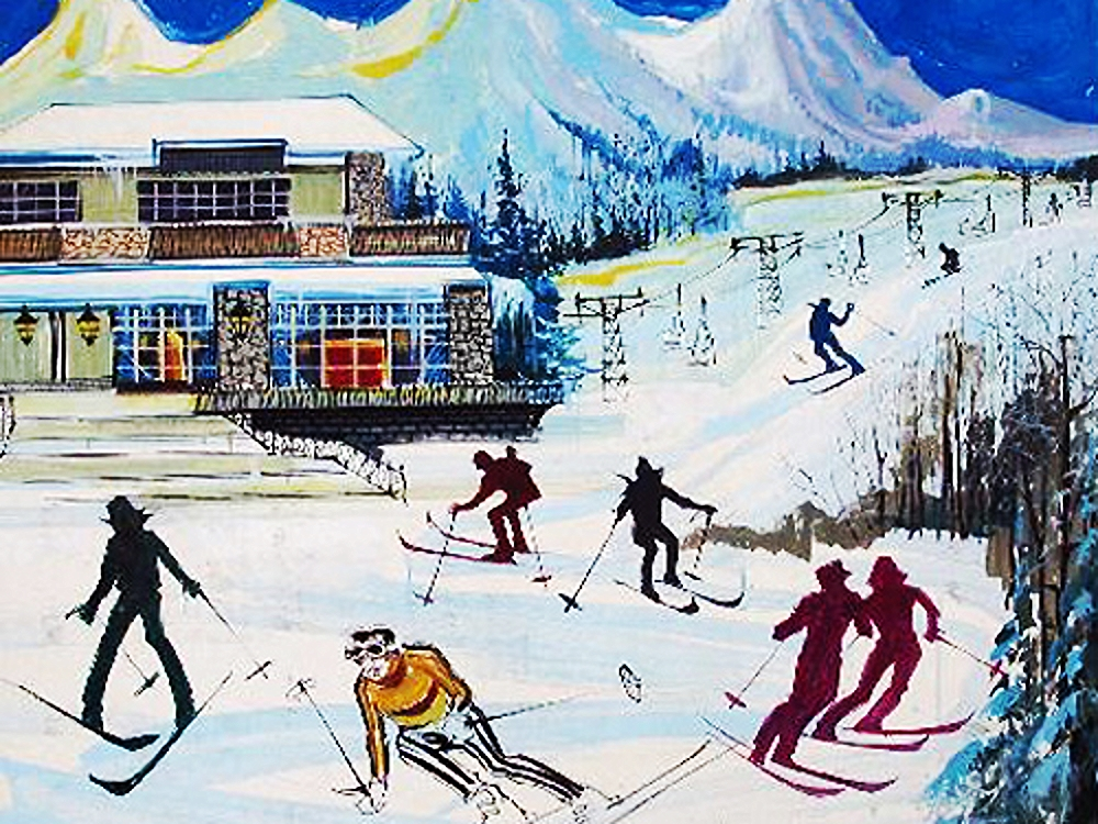 Winter Ski Scene: measures 8' high and 8' wide, foamcore.