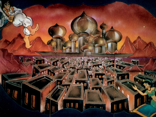 Alladin Scene: hand painted on wood. Measures 8' high and 12' wide.