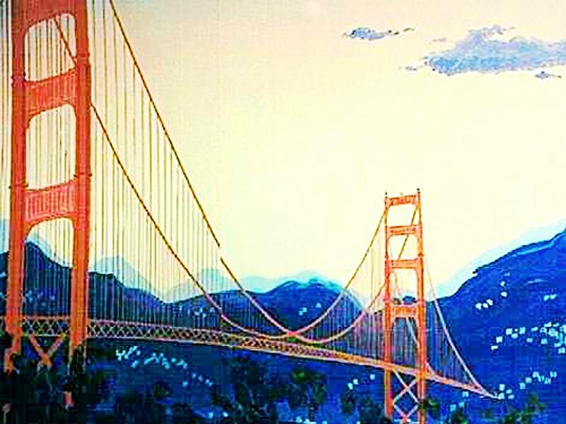 Golden Gate Bridge Scene: measures 8' high and 16' wide, wood.