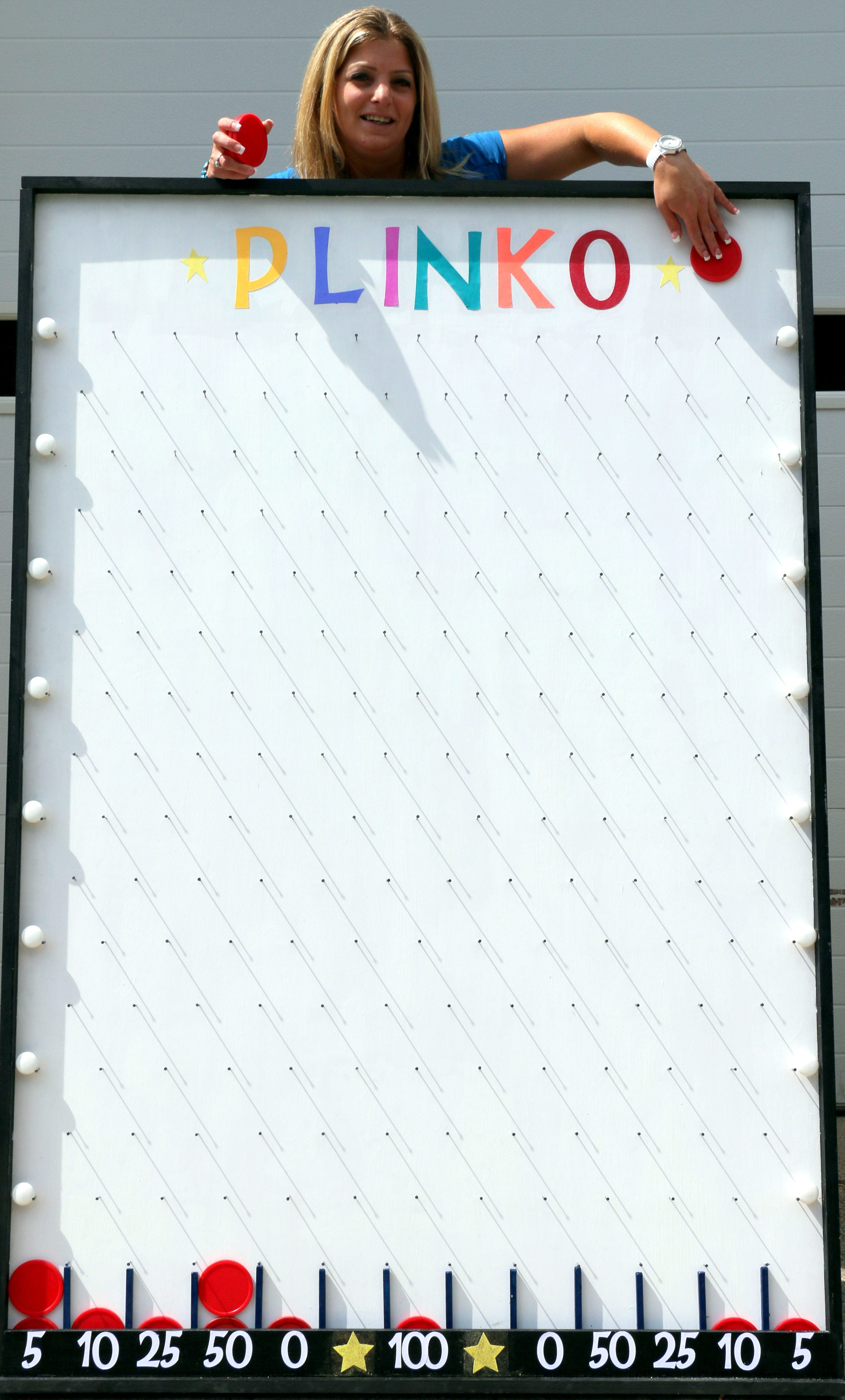 Plinko is great for Casino and Carnival Themes, Grand Openings, School or Trade Show Events, and much more. Can be customized for your next event. Measures 6' high and 4' wide.