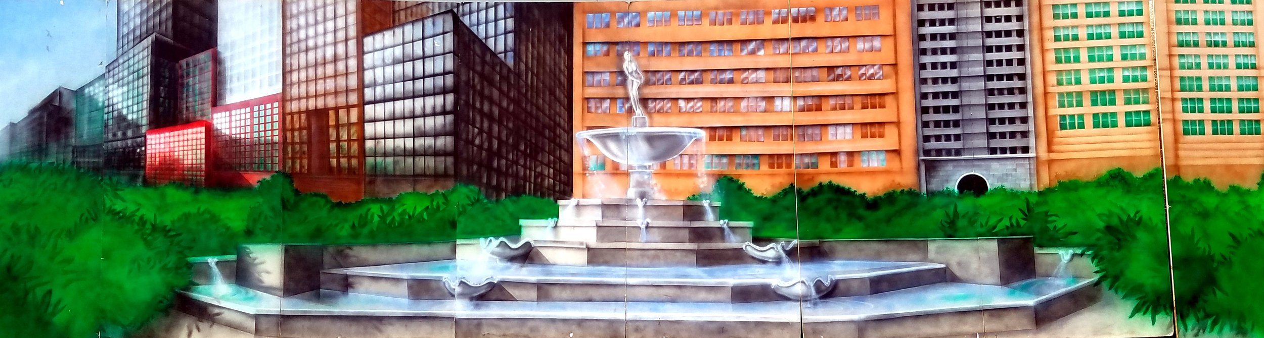 Downtown City Scene with Fountain- Measures 8' high and 32' wide, foam core