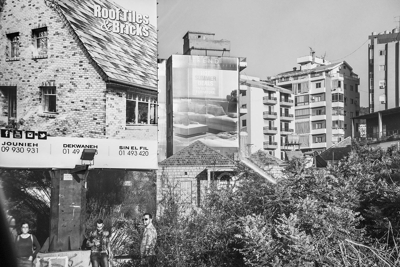 Roof Tiles/Bus Stop.  Beirut, Lebanon, 2018  Archival Fiber Inkjet Print   16 x 24 inches