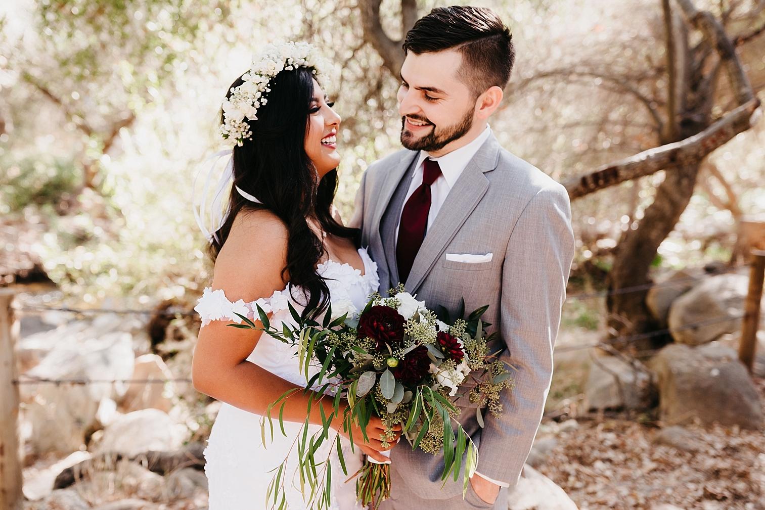 A bride and groom at their backyard wedding in Escondido