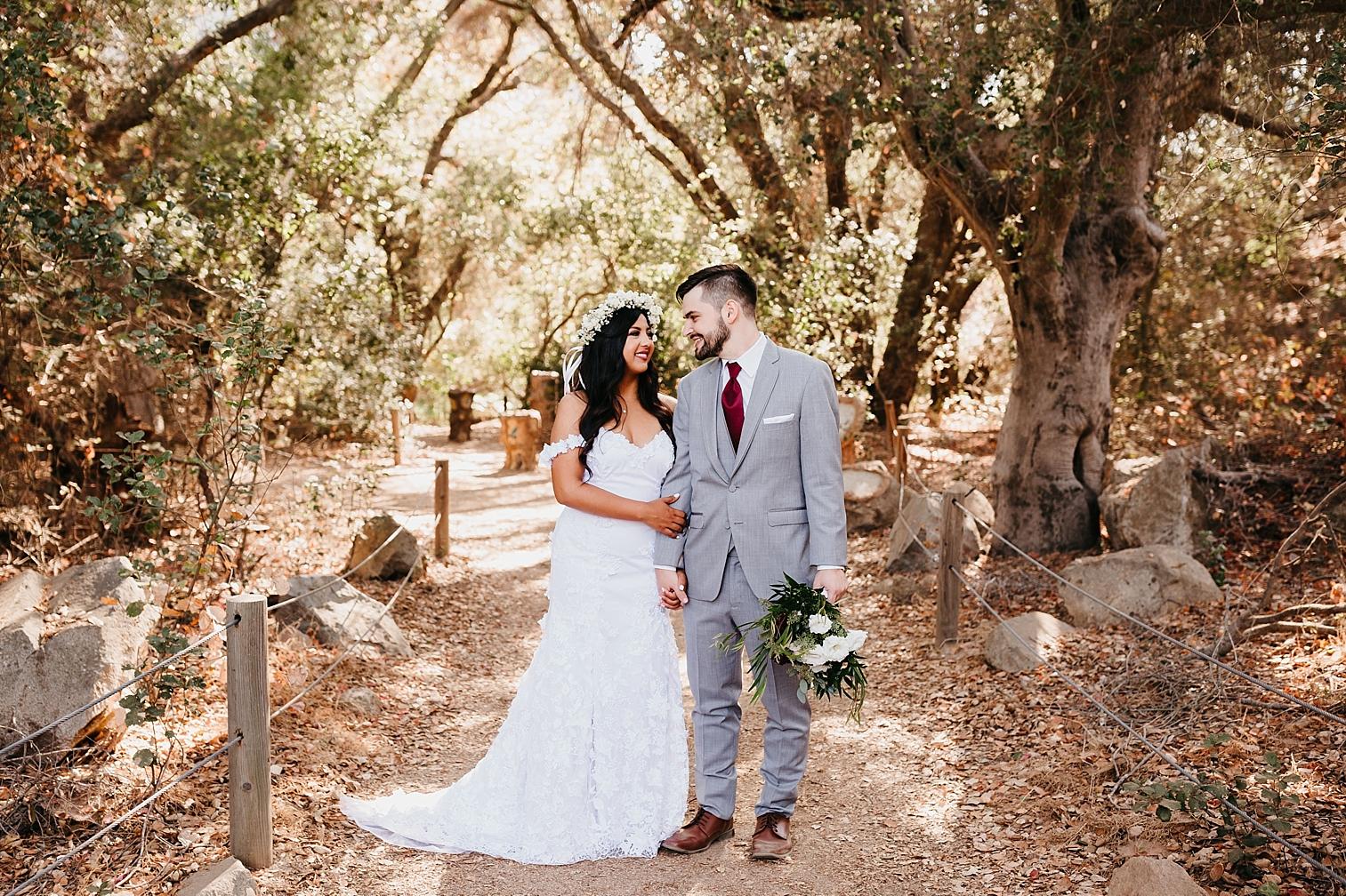 Bride and groom portrait at a backyard wedding